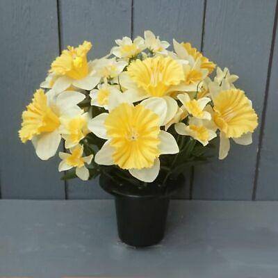 Artificial Daffodil Flowers In Grave Pot Ebay