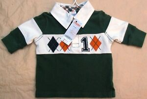 Gymboree-Green-and-White-Shirt-with-1-and-Diamonds-Boy-s-Size-3-6-Months-NWT