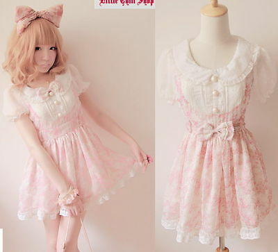 Kawaii Fashion Dolly sweet Cute elegant Princess Lolita Chiffon Lace Dress S~L