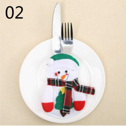 6 X Weihnachten Silberware Halter Messer Gabel Besteck Taschen Esstisch Dekor