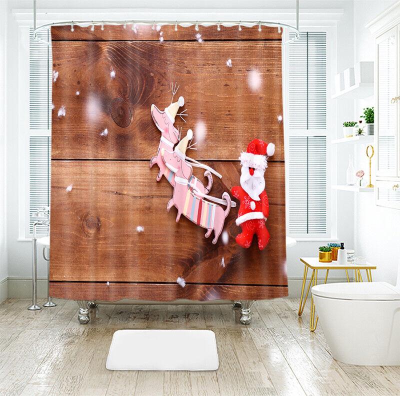 3D  Christmas Xmas 10 Shower Curtain Curtain Curtain Waterproof Fiber Bathroom Windows Toilet 787c21