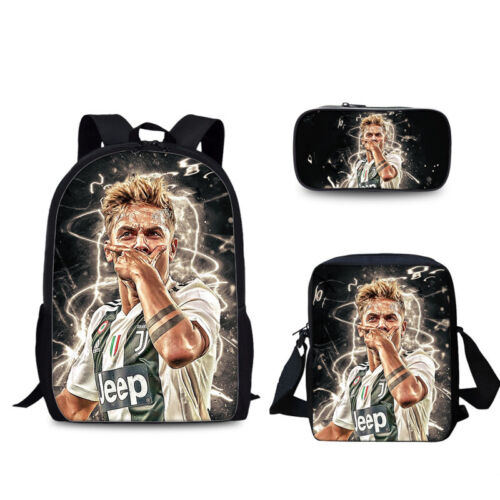 3Pcs//Set Juventus 3D Print Fashion Bag Boys Girls Travel School Backpack A41