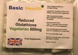 GLUTATHIONE x 120 Capsules 500mg Reduced Whitening Vegetarian Antioxidant Immune