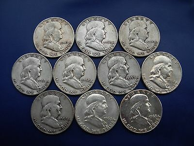 Very nice lot of 10 different Franklin halves:1949-1963-D