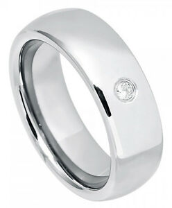 7c744928c495 Tungsten Ring Men Women Wedding Band High Polish 0.07ct White Stone ...