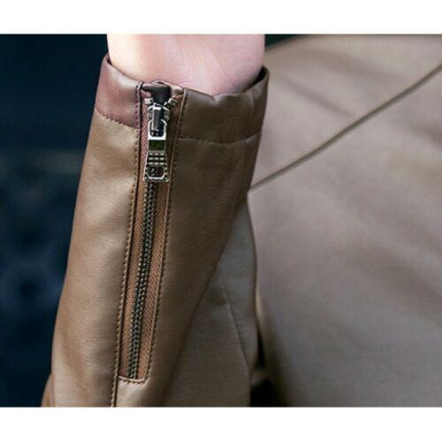 Men/'s Faux Leather Slim Fit Long sleeve Stand collar Biker Outdoor Outwear Zip D