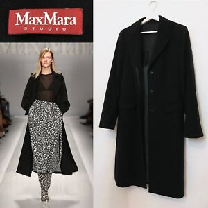 taglia 40 319ac fe209 Details about Max Mara Coat Black Virgin Wool Long Line Jacket Coat Size UK  14 MAX MARA STUDIO
