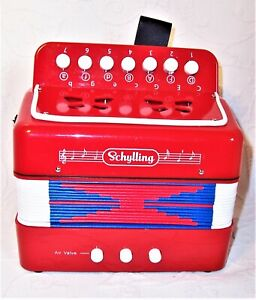 """The Schylling Little Red Accordion 7.5"""" child's beginner level accordion euc 7+"""
