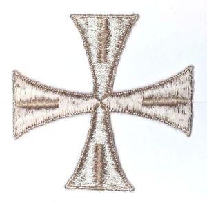 Vintage-Croce-3-034-Ricamato-da-Cucire-Beige-B-Maltese-Emblema-Toppa-2-Pcs
