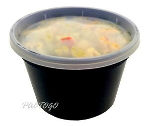 16 oz. BLACK (Pint Size) Plastic Freezer Food Storage Deli