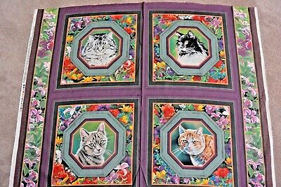 Cat Nap Cat Floral Garden Wild Wings Pillow Panel Cotton Fabric 1 Yd L