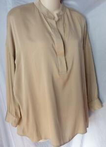 VINCE-SILK-BEIGE-LOOSE-FIT-BLOUSE-SHIRT-TUNIC-XS