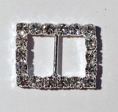 100 Silver Grade A Rhinestone Rectangle Ribbon Slider Wedding Buckle 10mm Bar