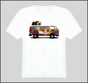 Image is loading Vw-Hippie-Van-Peace-Love-Bus-T-Shirt 2a63ac8bd