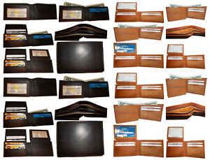 WHOLESALE-LOTS-of-5-Genuine-Mixed-Leather-card-bifold-trifold-checkbook-wallet
