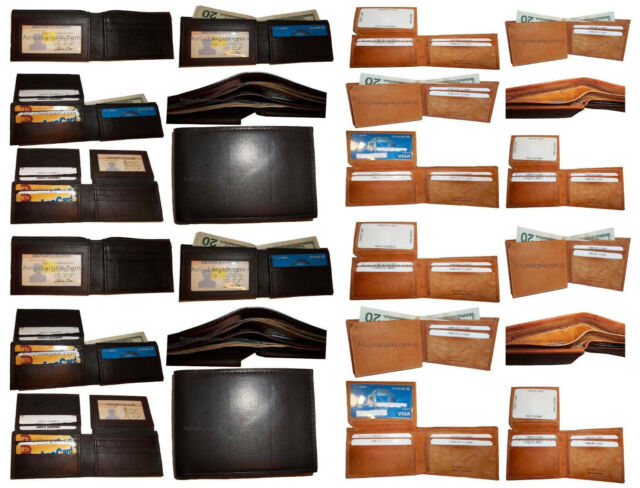 WHOLESALE LOTS of 5 Genuine Mixed Leather  card bifold trifold checkbook wallet
