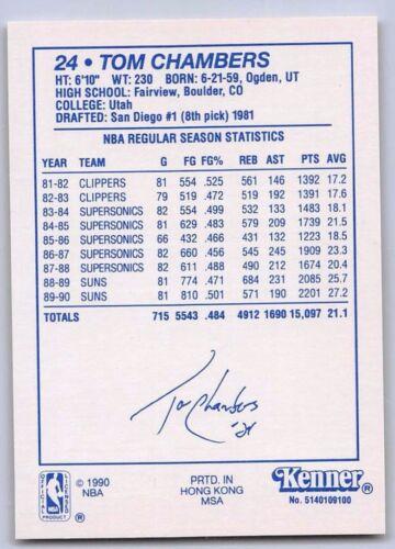 Kenner Starting Lineup Card Phoenix Suns - 1990  TOM CHAMBERS Blue