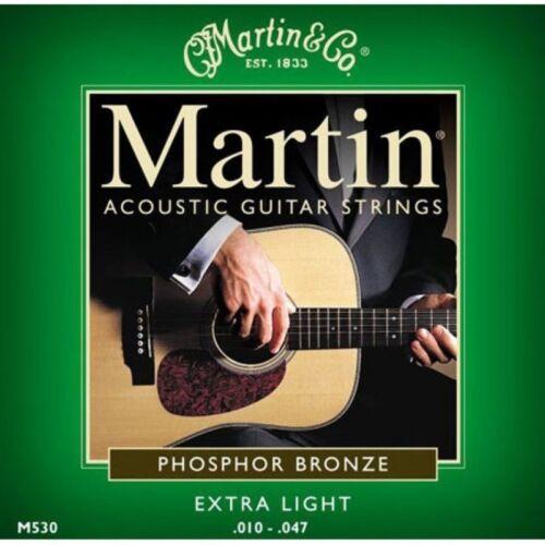 Martin M530 Phosphor Bronze Muta Corde per chitarra acustica scalatura 10-47 Ext