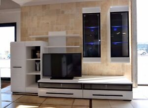 Image Is Loading Living Room White Gloss Wall Unit High Quality