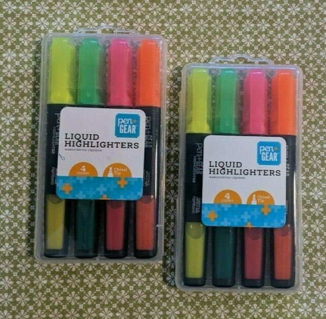 2 Packages - Pen Gear Chisel Tip Highlighters Assorted Colors - NEW