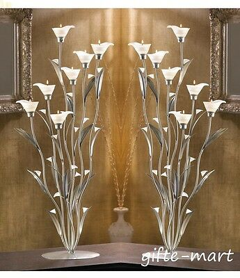 8 Large 32 Candelabra White Flower Floral Candle Holder Wedding