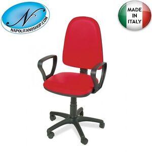 Sedia Poltrona Girevole.Dettagli Su Sedia Poltrona Girevole Ufficio Casa Con Braccioli Ruote In Ecopelle Rossa Rosso