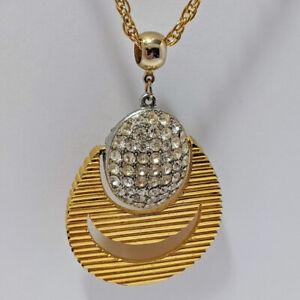 Vintage-LISNER-Pave-Rhinestone-Door-Knocker-Pendant-Runway-Statement-Necklace