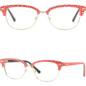 b614ab98ef5 Image is loading Red-Women-039-s-Browline-Frame-Acetate-Prescription-