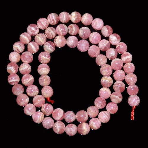 """Natural Rose Rhodochrosite Gemstone Round Beads 4mm 6mm 7mm 8mm 10mm 15.5/"""" Stand"""