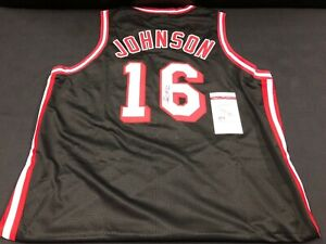 timeless design 84244 1aced Details about JAMES JOHNSON MIAMI HEAT SIGNED THROWBACK STITCHED JERSEY JSA  WITNESS COA BLACK