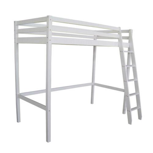 Kids Cabin Bed Single High Sleeper Bunk Wooden Pine Loft Bed Frame with Ladder