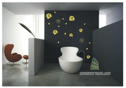 Grand volant de pétales de rose mur art stickers autocollants muraux fleurs-pd353