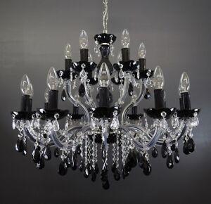 kristall kronleuchter mit 18leuchten 75cm mit nero schwarzen kristallen ebay. Black Bedroom Furniture Sets. Home Design Ideas