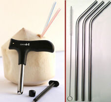 USA CocoDrill Coconut Opener Tool + 3 Stainless Steel Straws tap Opening Drill