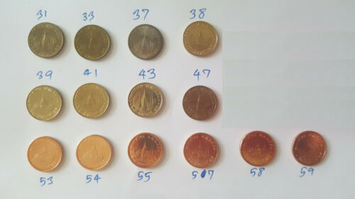 Thailand Coin Circulation 25 Satang Different 14 Years UNC