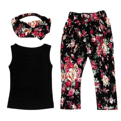Toddler Baby Girls Summer Sleeveless Shirt Tops+Floral Pants Kids Outfit Clothes