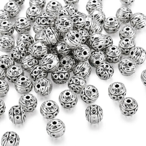 100PCS Tibetan Style  Round Beads Bracelet Jewelry Making Antique Silver 8x1mm