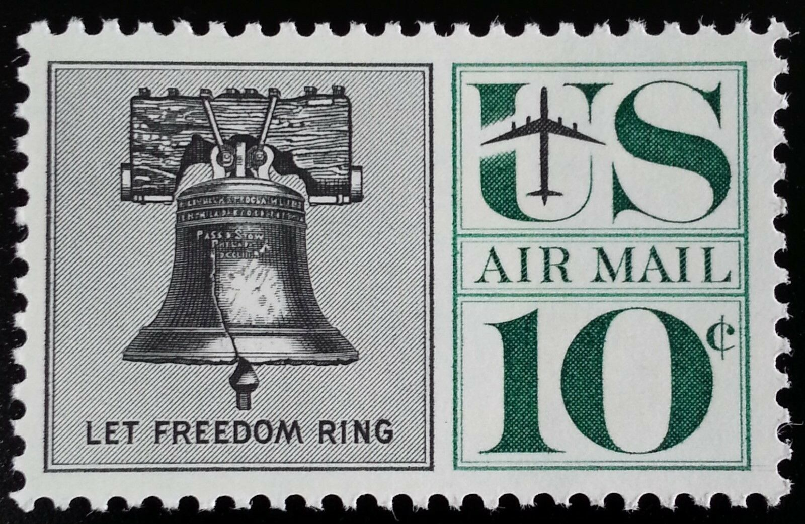 1960 10c Liberty Bell, Let Freedom Ring, Air Mail Scott