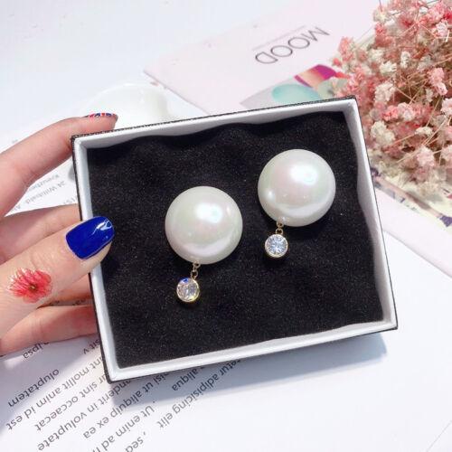 Boucles d/'oreilles Clous Doré CZ Gros Demi Perle Blanc 30mm Class Mode AA27
