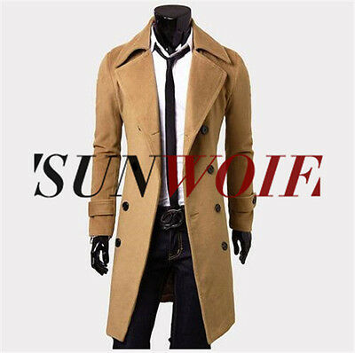 Fashion Mens Gent Slim Fit Double Breasted Overcoat Trench Coat Jacket Outwear
