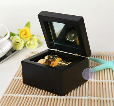 "black Play ""silent Night"" Wooden Music Box With Sankyo Musical Movement Decorative Collectibles"