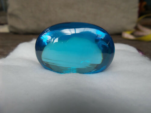 Rare Super Power Turquoise Blue Naga Eye Oval Cave Crystal Gem Amulet BIG SIZE