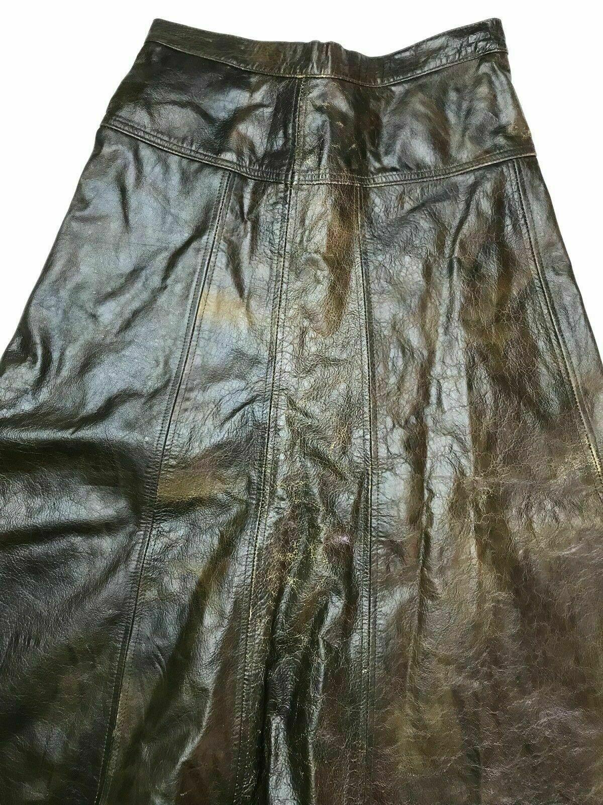 Vintage 70's-80's Brown Genuine Leather Umbrella … - image 3