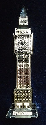 3D Crystal BigBen Model with Silver Metal Facing - Ideal Gift