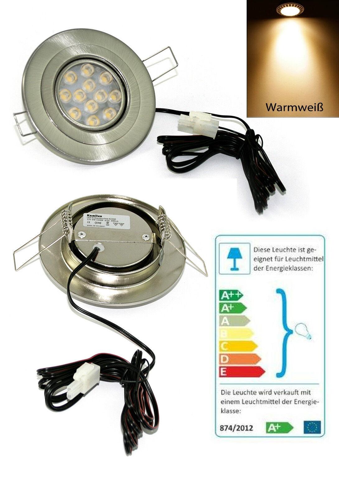 LED Einbaurahmen 12 Volt Eli 3 Watt = 25 Watt Warmweiss 1,5m Zuleitung