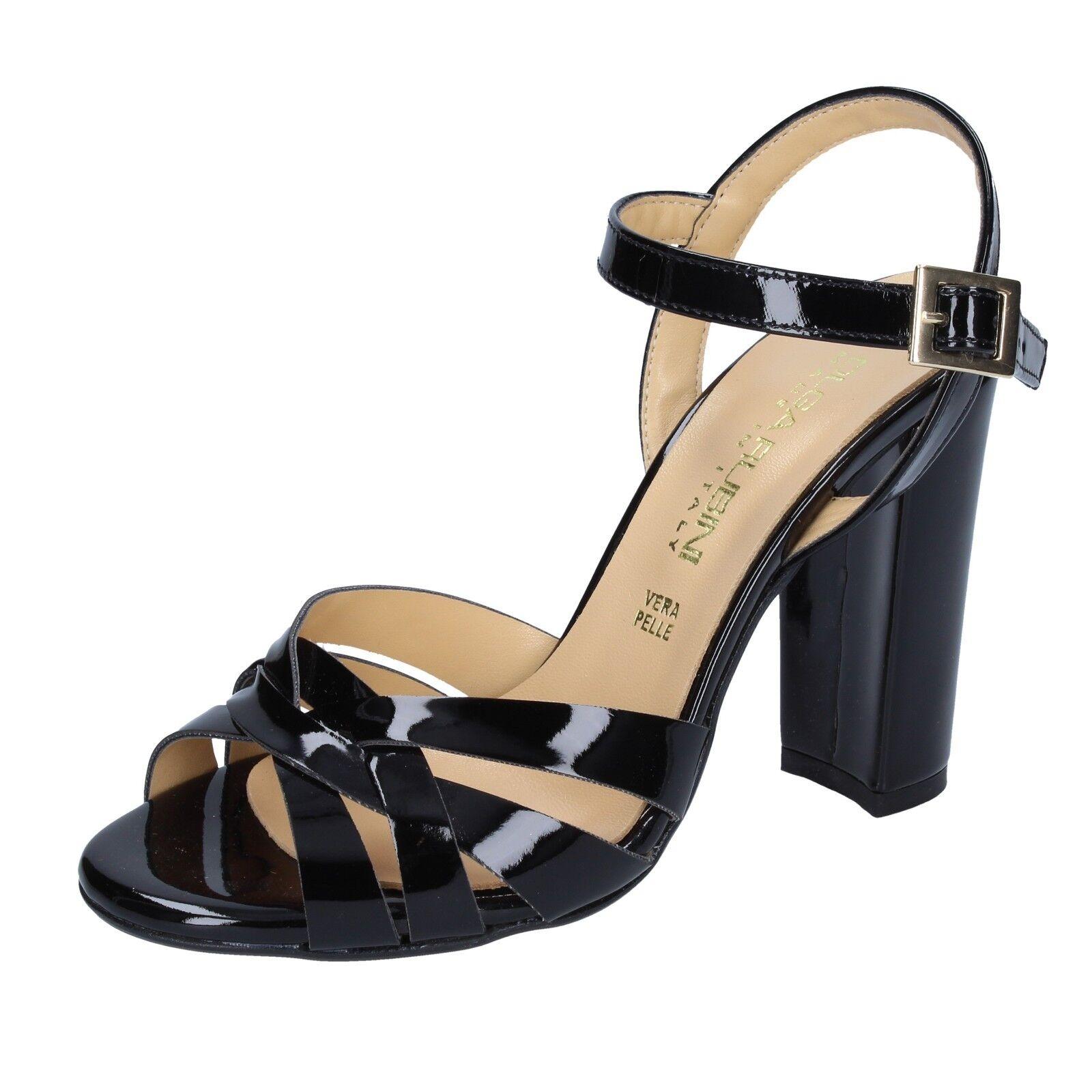 Zapatos señora olga Burini 37 UE sandalias sandalias sandalias negro charol bs115-37  alta calidad