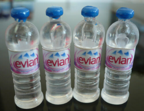 Set of 4  Bottle of Evian Water Dollhouse Miniatures  Food Supply Deco