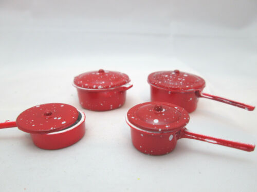 "1/"" scale dollhouse mini Red Spatterware Pots /& Pans"