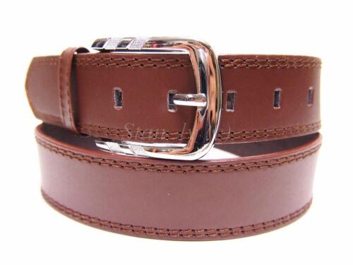 New Black Brown Plain Solid Leather Belt Casual Jeans Men Women S M L XL