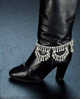 Silver Tone Coin 12 Boot Ankle Bracelet Anklet Bright Bells India Belly Dance